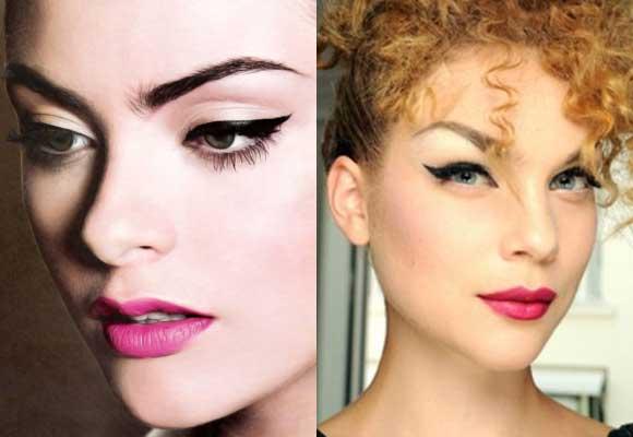 eyeliner e labbra fuxia