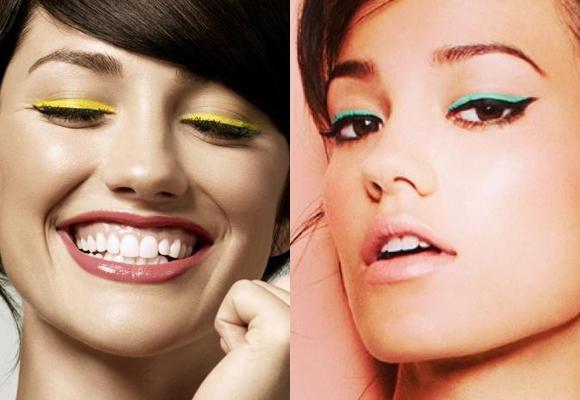 eyeliner giallo e verde