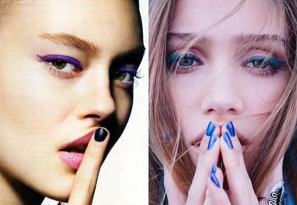 eyeliner viola e blu