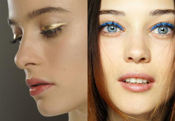 eyeliner oro e azzurro