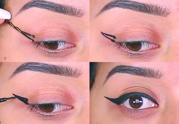 eyeliner con fermaglio capelli