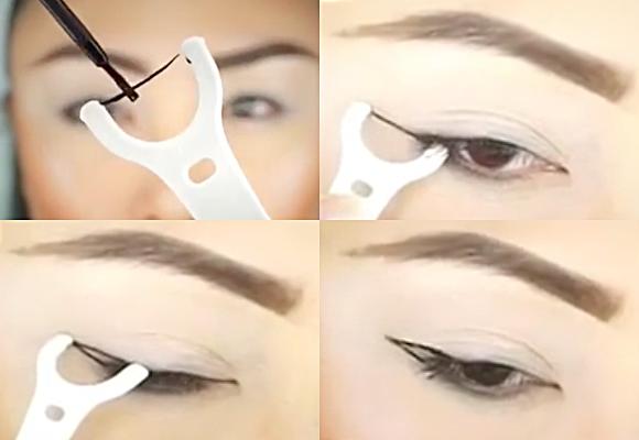 eyeliner con filo interdentale