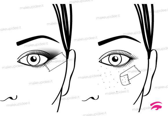 come utilizzare il nastro adesivo per il make up