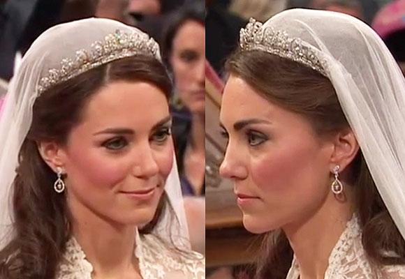 due primi piani di Kate Middleton matrimonio